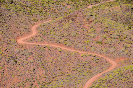 desert road: Aerial View of a Desert Road in the Canary Islands