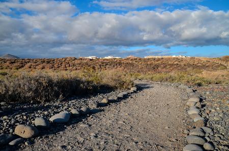 route desert: Longue Empty route du d�sert dans les �les Canaries Espagne