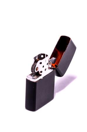 Vintage Zippo Style Lighter On a White Background photo