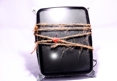 cathode: Vintage Cathode Ray Tube CRT Wrapped with Twine