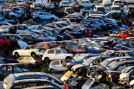 junk car: Scrap Yard With Pile Of Crushed Cars in tenerife canary islands spain