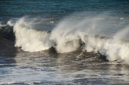 desaturated: Big Blue Wave Breaks in the Atlantic Ocean