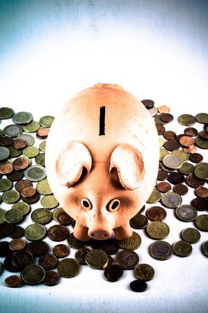 money concept: Picture of a Business Money Concept Idea Coins and Piggy Bank