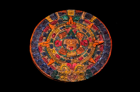 Typical Colored Clay Maya Calendar Isolated on Black