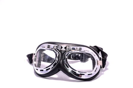 leathern: Black Retro Vintage Leathern Goggles for Motorcyclist on Black