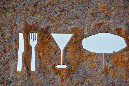 oxidated: Classic Vintage Old Rusty Oxidated Restaurant Sign With Fork and Knife
