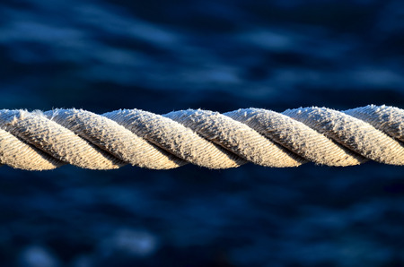 naval: Picture of an Old Vintage Naval Rope Stock Photo