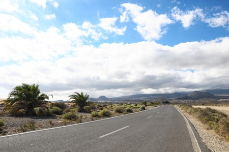 asphalt road: Lonely Road in the Desert Tenerife Canary Islands