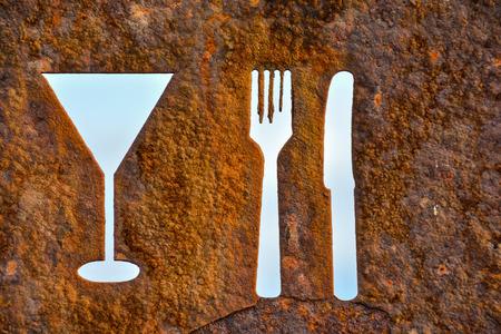 oxidated: Classic oxidado viejo oxidado restaurante Vintage Reg�strate Con Tenedor y cuchillo