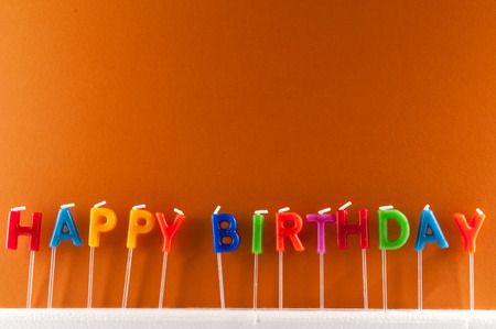 birthday background: Many Colored Candles with Text Happy Birthday