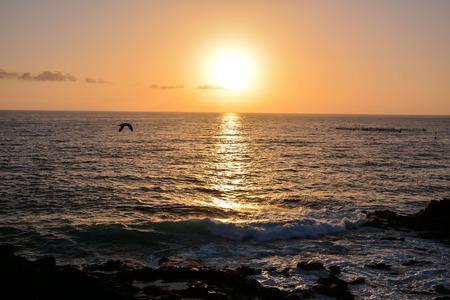ocean: Sun Setting on the Atlantic Ocean in Tenerife Canary Island Spain