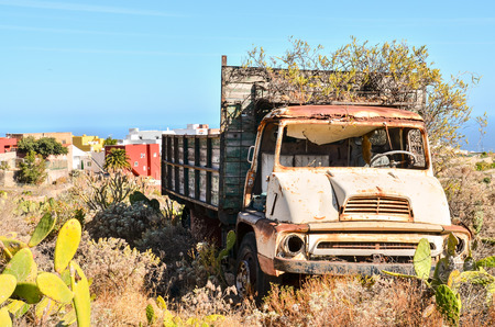 Rusty Abandoned Truck on the Desert, in Canary Islands, Spain photo