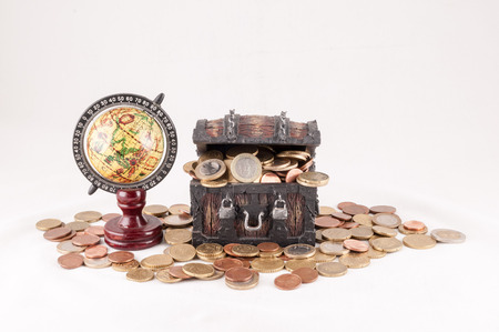 treasure: Picture of a Business Money Concept Idea, Treasure Trunk and Money Stock Photo