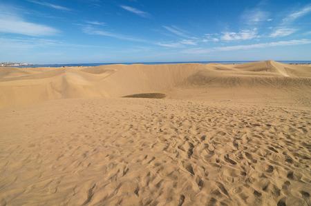 sand dune: African European Sand Dune Desert Landscape in Gran Canaria Island Spain