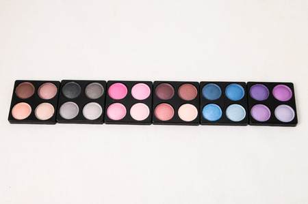 colorfully: Make-up Palette Of Colorfully Eyeshadows Over White Background