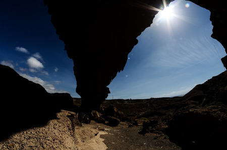 natural arch: Desert landscape Natural Arch silhouette in Tenerife Canary Islands Spain