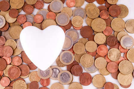 money concept: Picture of a Business Money Concept Idea Heart and Coins