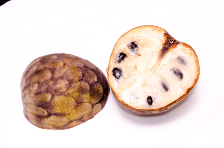 annona: Fresh Green and Brown Ripe Cherimoya Tropical Fruit