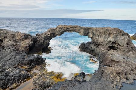 el: Natural Stone Arch in El Hierro Canary Islands Stock Photo