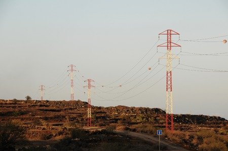 electricity pole: Electricity Pole over a Blue Sky in Spain