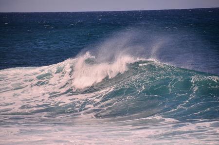 ocean and sea: Big Blue Wave Breaks in the Atlantic Ocean