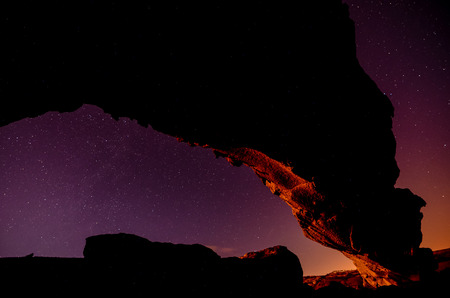 natural arch: Night Sky Picture of a Basaltic Natural Arch