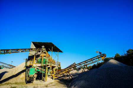 sand quarry: Industrial Gravel Quarry and Sand Stone Refinery Stock Photo