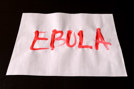globulos blancos: Word Ebola Text Writed with Blood on a White Paper