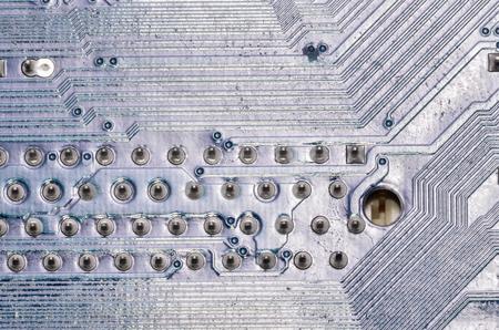 pcb: Macro Photo Of Electronic Circuit. Pcb On The Lighting. Stock Photo