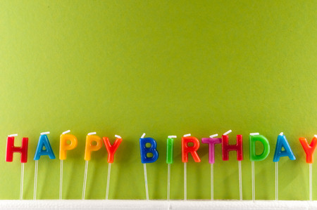 happy birthday text: Many Colored Candles with Text Happy Birthday