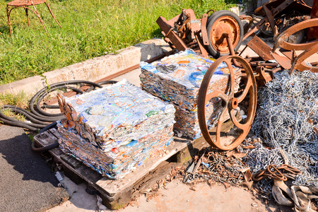 scrapyard: Photo Picture Heap of Scrap Metal Ready for Recycling Stock Photo