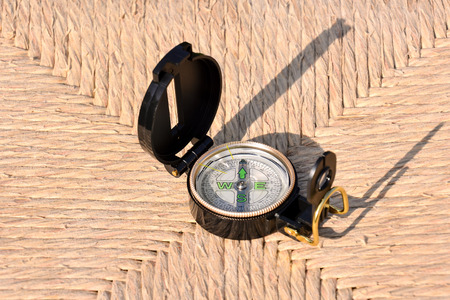 orientation: Photo Picture of a Magnetic Compass Orientation Concept Stock Photo