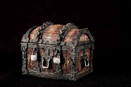 cofre del tesoro: Viejo vintage cl�sico de madera del tronco del pirata Objeto