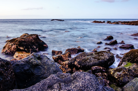 rocks water: Long Exposure Picture of the Sea Coast in Tenerife