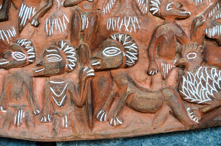 bas: Antique Carved Wood Bas Relief of Polinesian Art