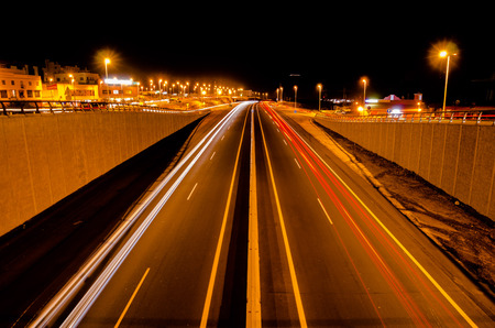 highway traffic: Picture of an Highway Road in the Night Time