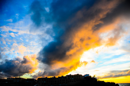 canary island: City Sunset Landscape in South of Tenerife Canary Island Spain