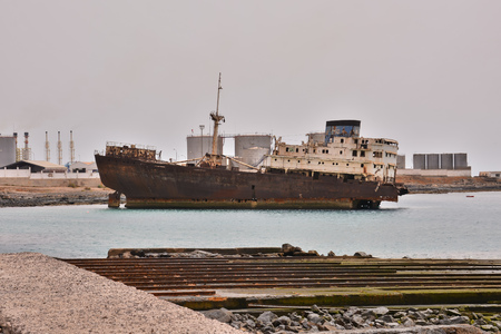 Photo Picture of an Abandoned Metal Rusty  Ship