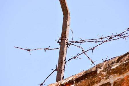 prison system: Picture of the Dangerous Barbed Wire on the blue sky