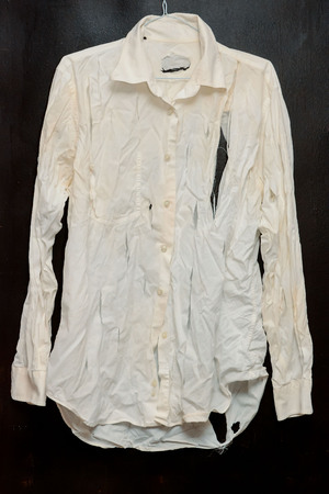 Old Vintage Ruined Grunge White Shirt Clothes Stock Photo