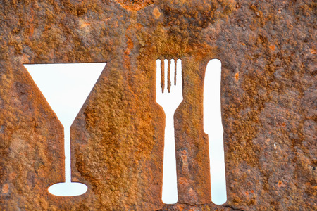 Classic Vintage Old Rusty Oxidated Restaurant Sign With Fork and Knife