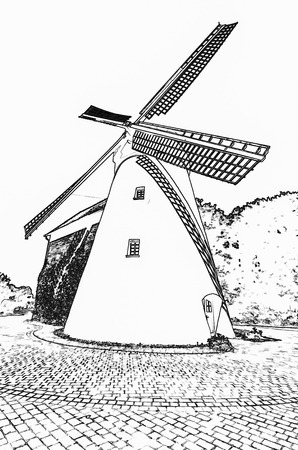 traditional windmill: Traditional White Windmill on the Countryside in Germany Stock Photo