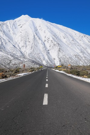 canary island: Snow Desert Lonely Road Landscape in Volcan Teide National Park, Tenerife, Canary Island, Spain