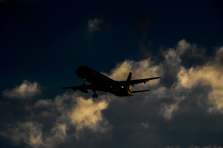 landing: Silhouette of an Airplane Landing over a evening sky