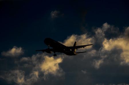 evening sky: Silhouette of an Airplane Landing over a evening sky