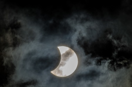 solar eclipse: Partial Solar Eclipse on a Cloudy Day