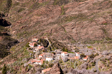spanish landscapes: Village in the mountain at Gran Canaria in the Spanish Canary Islands.