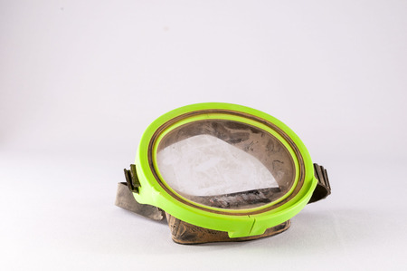 diving mask: Picture of a Classic Old Vintage Green Scuba Diving Mask Stock Photo