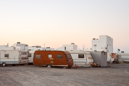 airstream: Photo Picture of a Caravan Park in the Desert Stock Photo