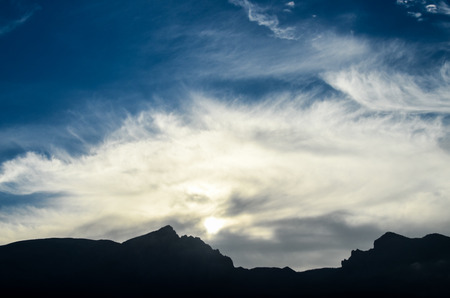 canary island: Sunset Behind Guimar Mountains in Tenerife Canary Island